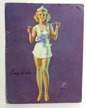 1940 Pinup Girl Ink Blotter Card Earl Moran Calendar Sexy Nurse Easy to ... - $15.83