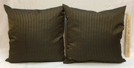 """Pillows Throw Black & Gold Striped Square 17"""" Pair Set 2 Sheen Down Filled - $34.64"""