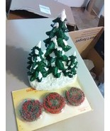 Ceramic Snow Capped Evergreen Trees for Christmas Village and Dept 56 Ga... - $7.36
