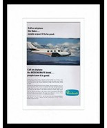 ORIGINAL Vintage 1968 Beechcraft Duke Plane 11x14 Framed Advertisement - $41.71