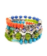 Beautiful Festival Collection Beaded Coil Stretch Bracelet by Treska - $25.11