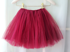 Flower Girl Skirts, Baby Tutu Skirt, Infant Tulle Skirt - Red, Elastic Waist image 4