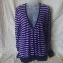 Old Navy lavender and navy striped long-sleeved cotton cardigan - $12.00