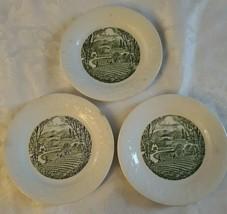 """Homer Laughlin Pastoral USA 6.75"""" Bread & Butter Plate White & Green VTG 1950s - $15.83"""
