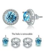 2.5 Carat Round Blue Topaz Halo Ear Jacket Stud Earring 925 Sterling Silver - $70.55