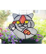 Handmade British cat stained glass window suncatcher Animals art lucky c... - $68.00
