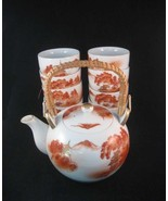 Vintage Japanese Kutani Teapot & 8 Tea Cups Ora... - $25.00