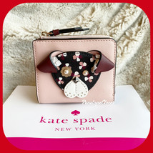NWT KATE SPADE LEATHER NOVELTY FLORAL PUP SMALL L ZIP BIFOLD WALLET CHER... - $48.39