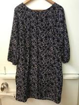 Old Navy Shift Dress Blue Black Tan Floral Print 3/4 Sleeves Size L Large - $15.95