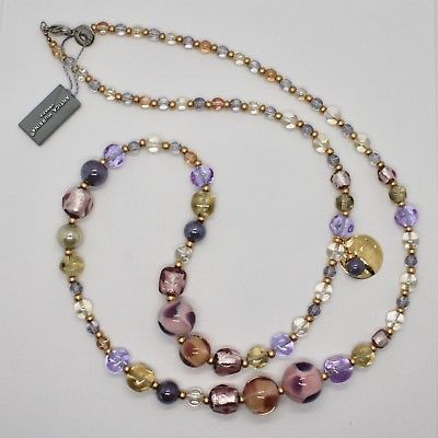 NECKLACE ANTIQUE MURRINA VENICE WITH MURANO GLASS PURPLE PINK BEIGE COA82A05