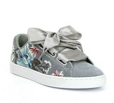 Puma Basket Heart Hyper Embroidery Gray 366116 03 Womens Shoes - $44.95