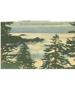 A Sea of Clouds, Great Smoky Mountains National Park, used linen Postcard  - $4.99