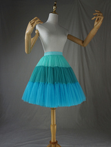 Women Knee Length Puffy Tulle Skirt Mint Green Blue Layered Tulle Skirt A-Line image 2