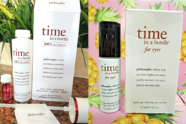 Philosophy TIME IN A BOTTLE Face & Eye Serum Anti-Aging Duo Full Size BO... - $47.01