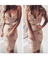 Women's Rosegold Sequins Dress Sleeveless Backless Bodycon Club Party Mi... - $49.00