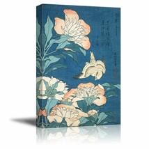 wall26 - Peonies and Canary by Katsushika Hokusai - Canvas Print Wall Ar... - $49.99