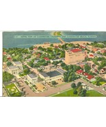 Aerial view of Clearwater, causeway and Clearwater Beach, Florida, postcard - $5.99