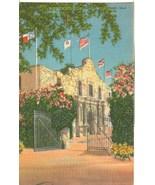 The Alamo and Courtyard, San Antonio, Texas, unused linen Postcard  - $4.99