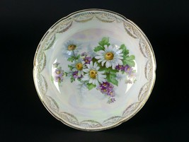 Antique Germany Bowl, Hand-Painted Daisy and Aster Floral w Gold & Luste... - $19.60