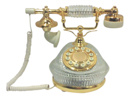 Hollywood regency gold plated crystal french style telephone thumb200