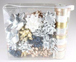 Wondershop Gold Silver White 264 Ft Ribbon 33 Bows Gift Wrapping Kit Set NEW image 3