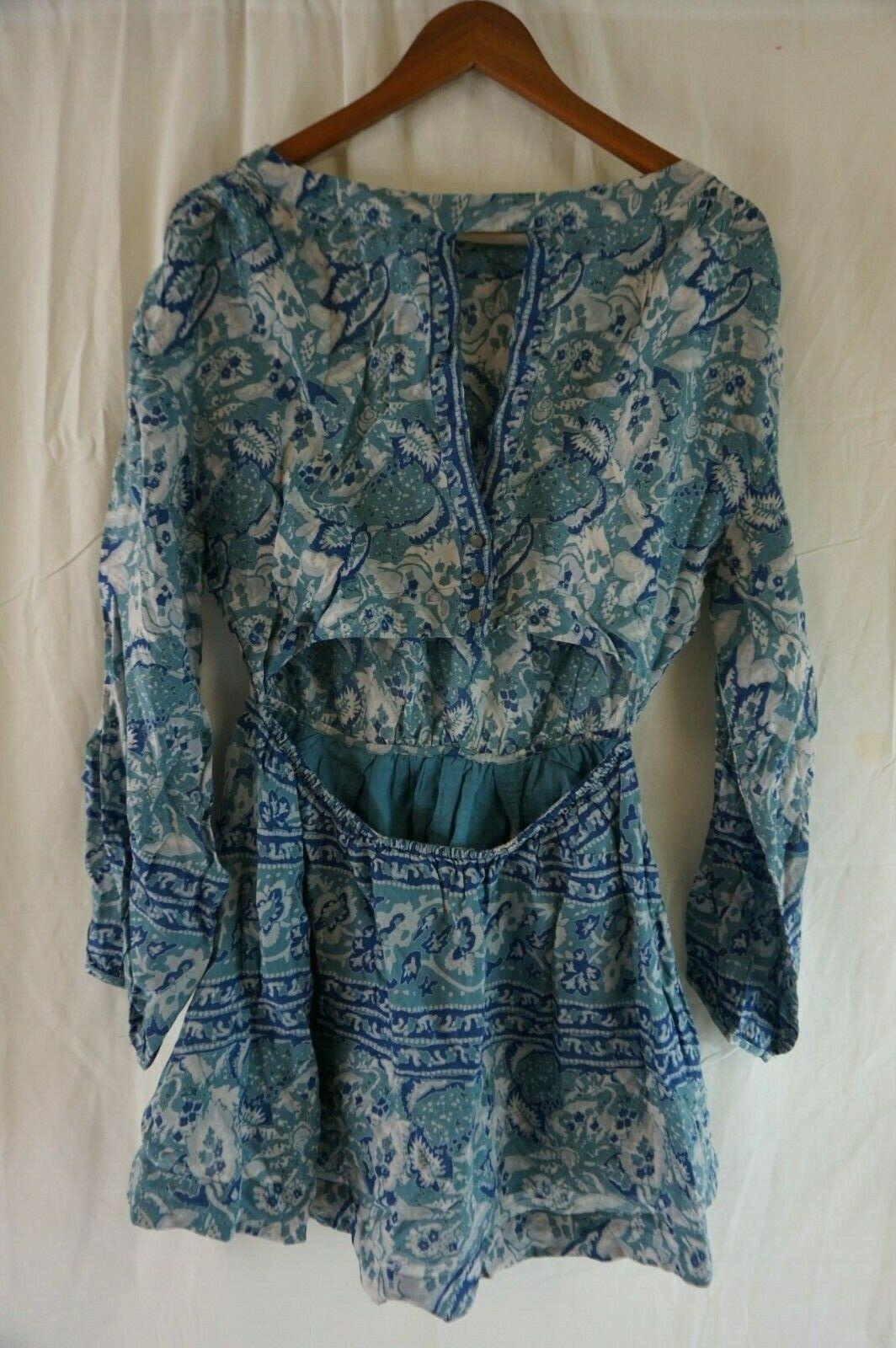 NEW FREE PEOPLE Women's Blue Sun Printed Long Blouson Sleeve Cutout Dress Small