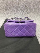 AUTHENTIC CHANEL 2017 PURPLE QUILTED PATENT LEATHER SQUARE MINI CLASSIC FLAP BAG image 3