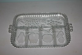Vintage INDIANA Glass Fruits Pattern 5 Section Divided Relish Serving Tray Dish - $11.88