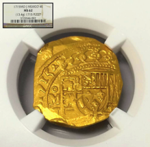 MEXICO 1715 FLEET SHIPWRECK 4 ESCUDOS NGC 62 GOLD DOUBLOON COB COIN ONLY... - $19,500.00