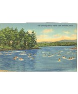 Bathing Beach, Onota Lake, Pittsfield, Mass, unused linen Postcard  - $6.85
