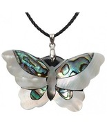 Angel Jewelry Women's Abalone Shell Butterfly Necklace Pendant - $32.91