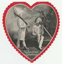 Vintage Valentine Card Boy Plays Soldier Girl in Wagon Photo 1920's Heart - $9.89
