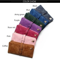 2017 Women Wallets Drawstring Nubuck Leather Zipper Wallet Two Fold Purse Clutch - $15.99