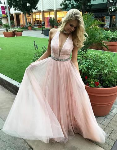Pink sequins chiffon long prom dresses, pink evening dresses,PD2061