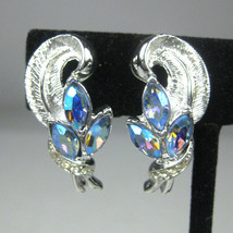 Coro Earrings CLIP ON Silvertone Vintage Circa 1970  Estate Aurora Borea... - $19.79