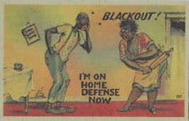 "Postcard Black Americana 1940's  ""Blackout! Home Defense"" - $5.50"