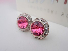 Rose Pink Swarovski Halo Earrings / Pierced Post SS39 / Surgical Steel Studs / W - $23.00