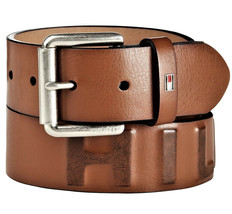 Tommy Hilfiger Men's Premium 38MM Classic Raised Logo Leather Belt