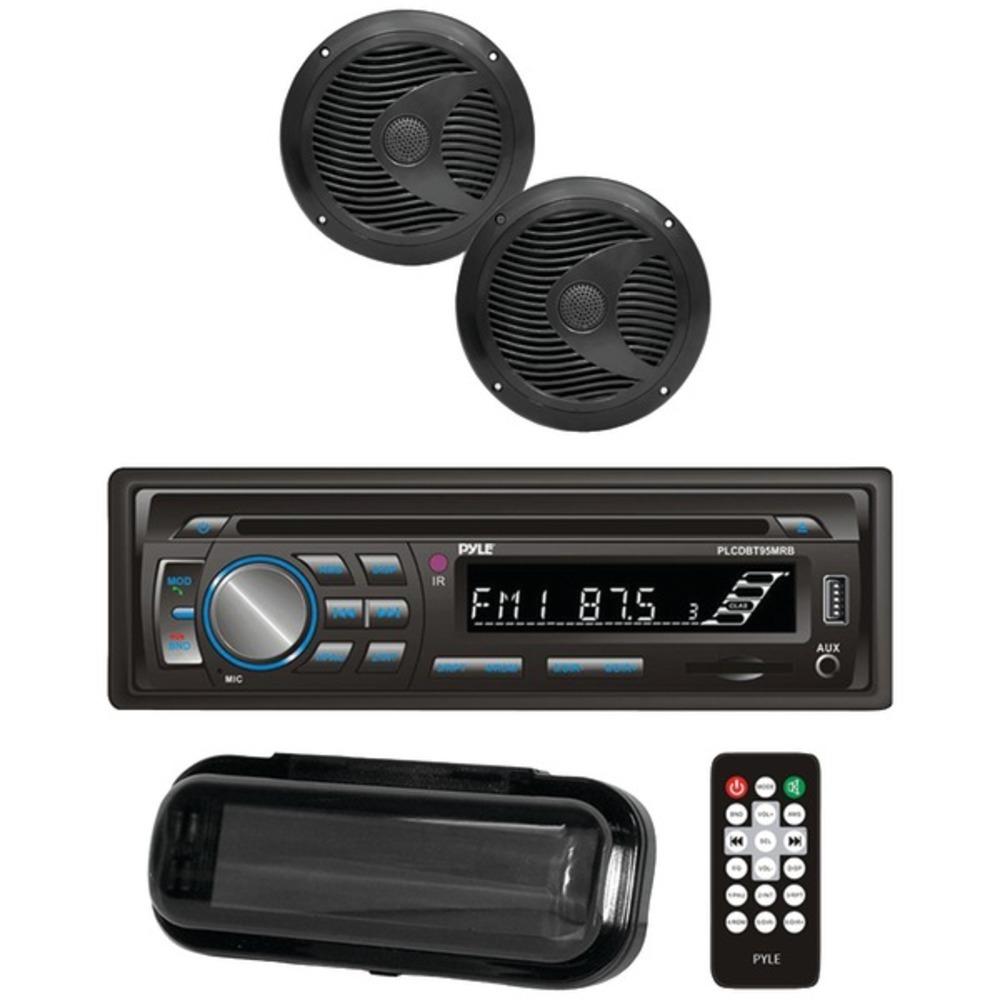 "PYLE(R) PLCDBT75MRB Marine Single-DIN In-Dash CD AM/FM Receiver with Two 6.5"" Sp - $147.41"