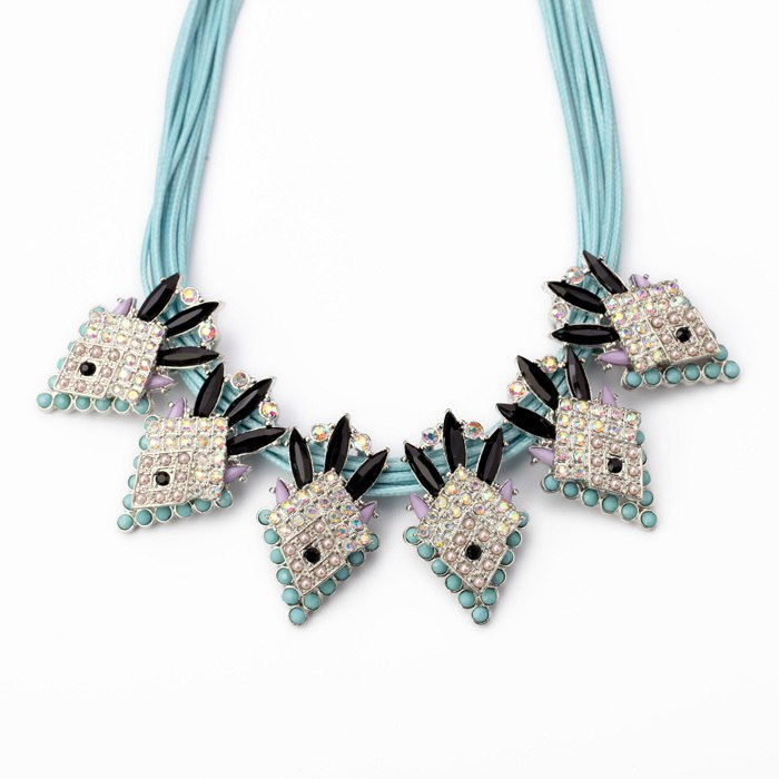 Major Suit Blue Multi-storey Chain Karma Necklace Fake Stretcher