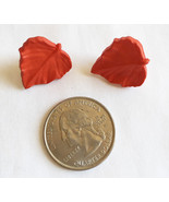 Red Leaf Resin Button Stud Earrings Handmade - $2.50