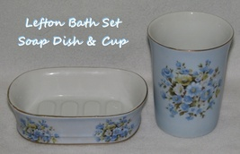 Vintage Lefton Soap Dish & Cup Bath Set Blue Floral  - $17.99
