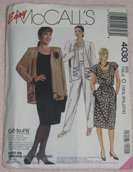 McCalls 4030 Jacket Top Skirt Pants Size 16.5 - 20.5  McCall's