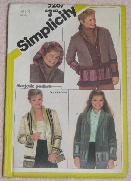 Simplicity 5287 Jacket w/ Detachable Hood Misses Sz 16  Simplicity New Look