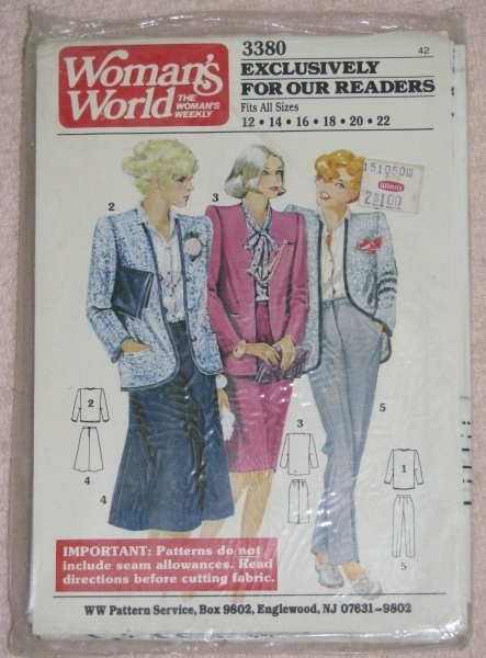 Woman's World 3380 2 Piece Suit Womens Sz 12 - 22  Other
