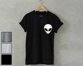 ALIEN Shirt Alien Head Pocket Print T-Shirt smiling face galaxy space uf... - $14.99