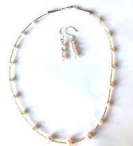 """Handmade NM USA Pink Pearl Glass Bead Necklace & Earrings 20""""  - $29.69"""