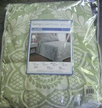 Living Quarters Bedspread Queen Green Jacquard Woven Matelesse Cotton NWT - $88.99