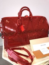 Louis Vuitton Keepall 50 Bag Hand Shoulder Red Bandouliere Monogram Auth... - $6,844.70