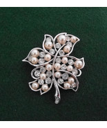 Bogoff Silvertone Leaf w Crystals & Pearls Pin Brooch Signed Vintage 2 1... - $37.06